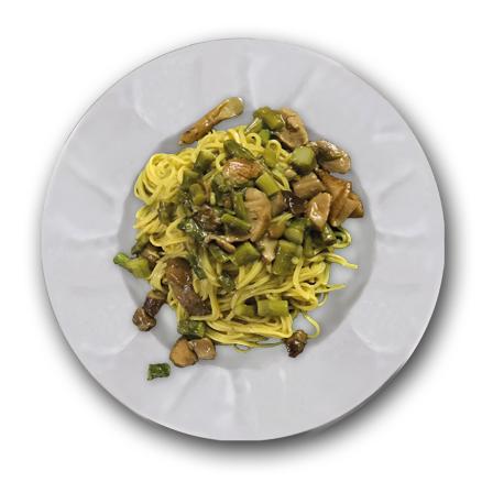 Tonnarelli con Asparagi e Funghi