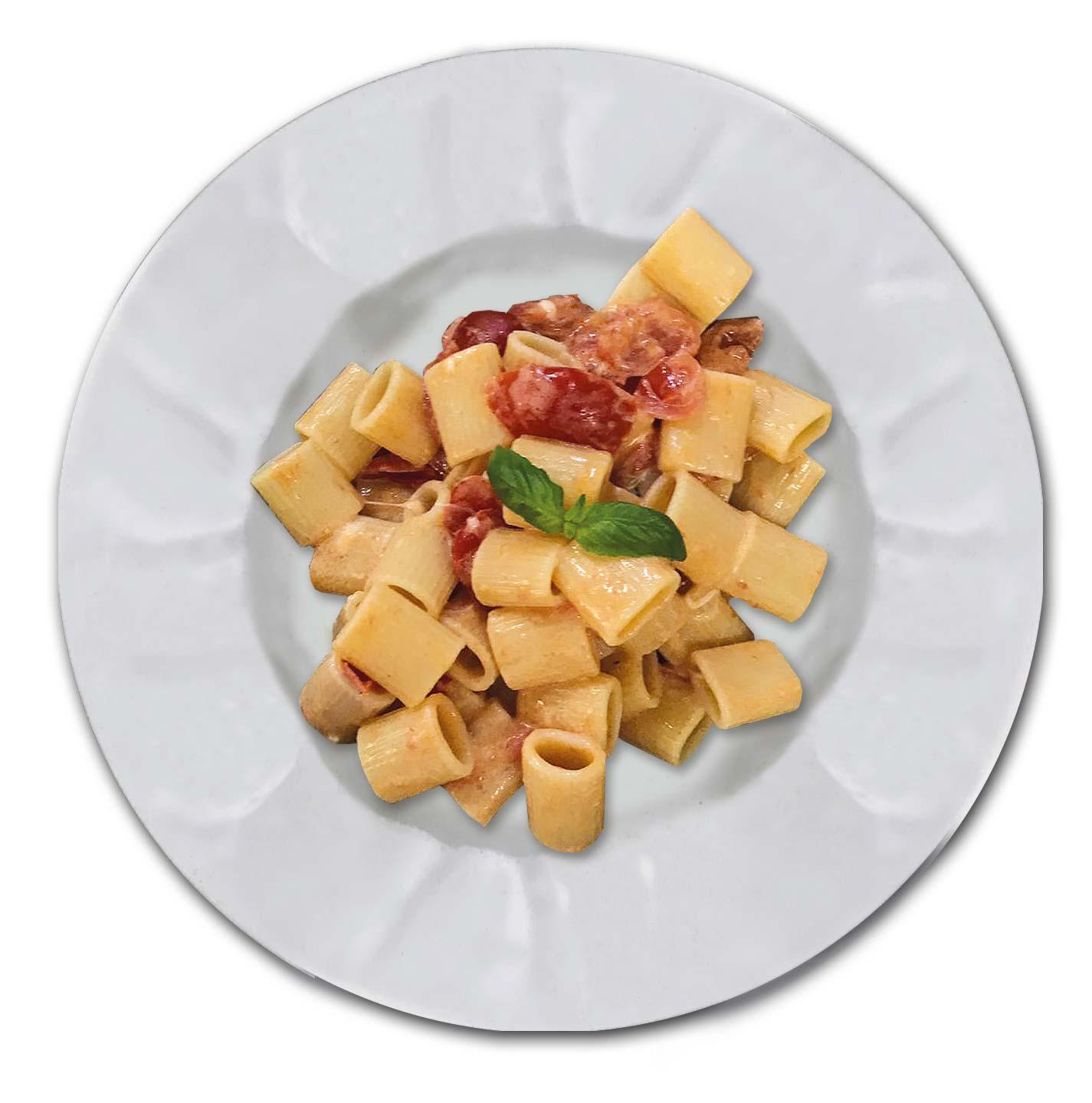 Mezze Maniche Burrata Pachino Basilico